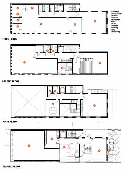 Галерея Ривингтон Плейс. Планы этажей © Adjaye Associates