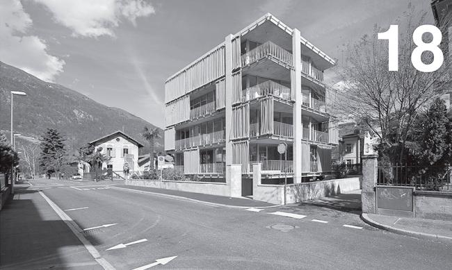 Многоквартирный дом 1077 project в Беллинцоне (Швейцария). Авторы Guidotti architetti и Andrea Frapolli architetti. Страницы из каталога «Тичино. Архитектура и территория»