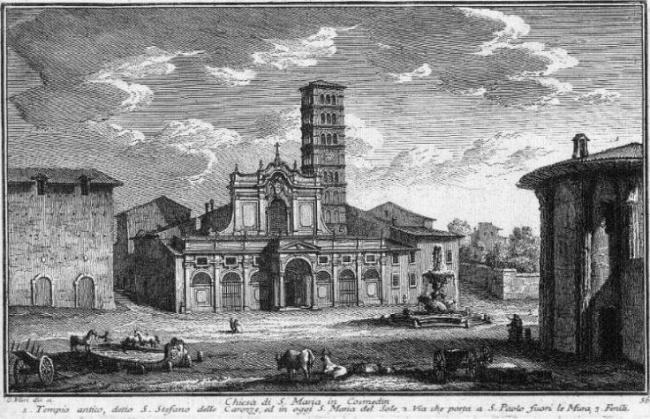 Церковь Санта Мария ин Космедин. Фрагмент гравюры Дж. Вази. 1748