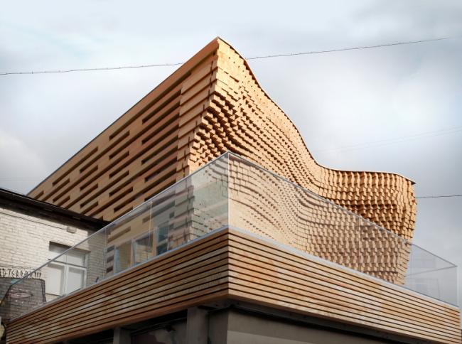 «Дом на крыше». Офис и шоу-рум компании НЛК-Домостроение. Фотограф: Семен Гоглев