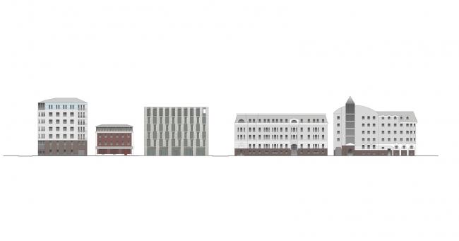 Комплекс в Курсовом переулке, вл. 10/1. Развертка © Цимайло Ляшенко и Партнеры