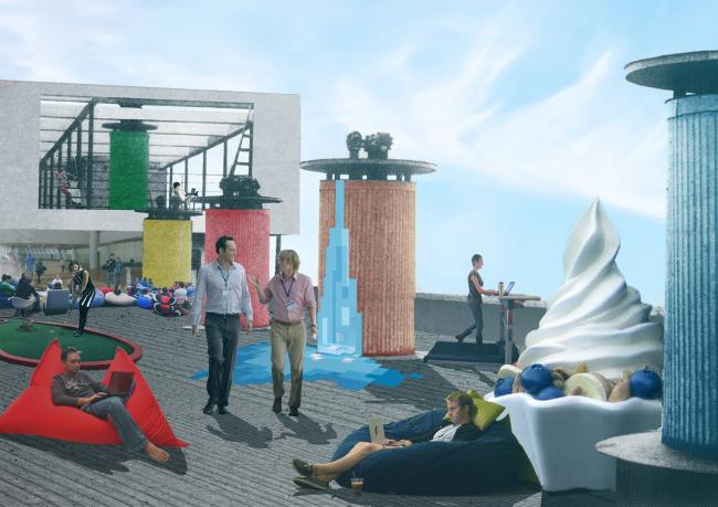 """Коллаж """"Офис"""" для стенда """"Narkomfin™"""", 2014, Юлия Ардабьевская / Институт медиа, архитектуры и дизайна """"Стрелка"""""""