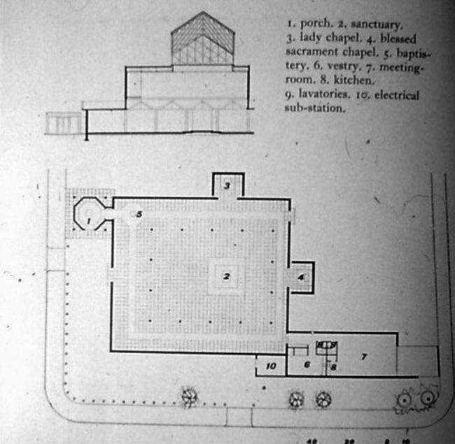 Церковь Боу Коммон. План и разрез