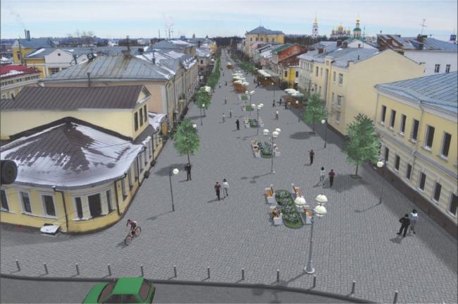 Проект пешеходного участка Большой Московской. Источник: http://zebra-tv.ru/