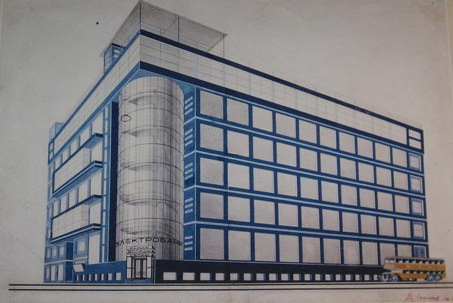 И. Голосов. Конкурсный проект здания «Электробанк» в Москве. 1926 г.