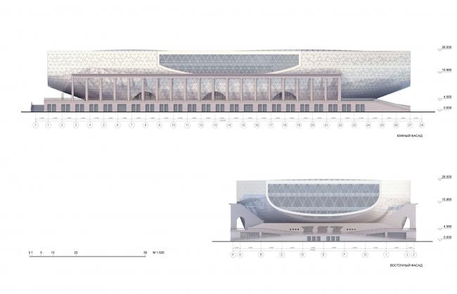 Южный и восточный фасад / Концепция реконструкции бассейна «Лужники», ДНК аг.