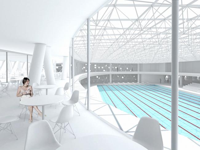 Вид на спортивный бассейн из ресторана / Концепция реконструкции бассейна «Лужники», ДНК аг.