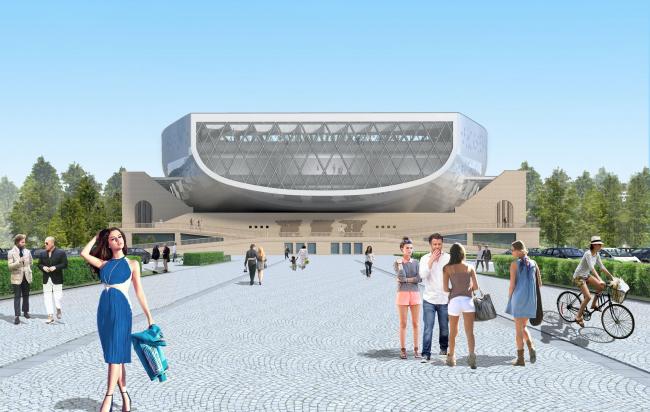 Вид от арены / Концепция реконструкции бассейна «Лужники», ДНК аг.