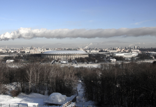 Встройка проекта в панораму с Воробьевых гор / Концепция реконструкции бассейна «Лужники», ДНК аг.