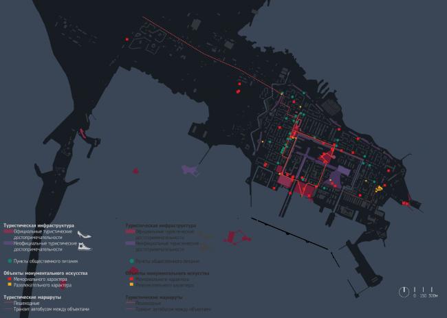 Туристическая инфраструктура Кронштадта, результаты студенческих исследований. Иллюстрация: МА DUE