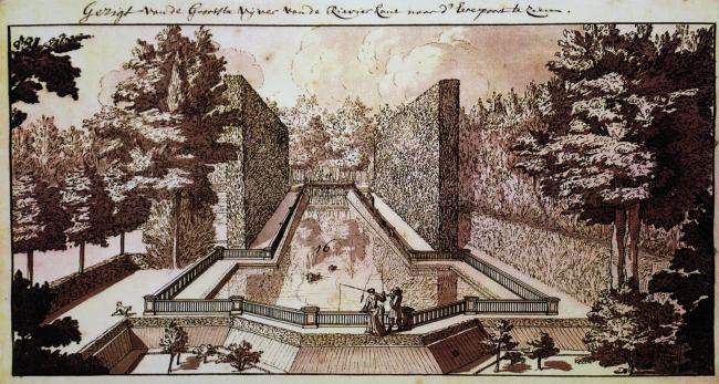 Крестовый пруд в «маленьком Эрмитаже» Бидлоо (1730 г.). Пруд сильно напоминает Крестовый пруд, спроектированный для Петра и располагавшийся в нескольких сотнях метров. Материалы Атласа Лефортовского парка