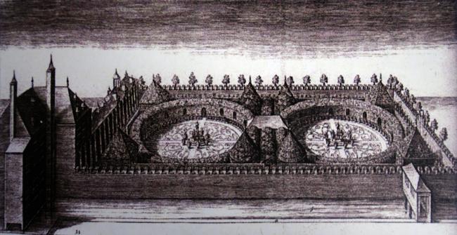 Рисунок «увеселительного сада» Принца Маурица в Гааге (1622). Партер Головина с двойными кругами напоминает сад принца Маурица. Материалы из Атласа Лефортовского парка