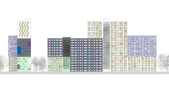 Цветовое решение фасадов. Жилой комплекс «Я-романтик» ©А-Лен