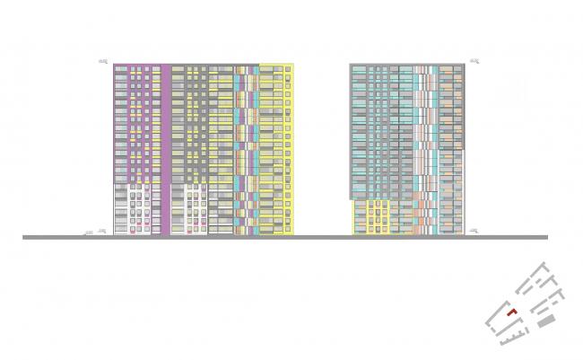 Фасады, корпус 11. Жилой комплекс «Я-романтик» ©А-Лен