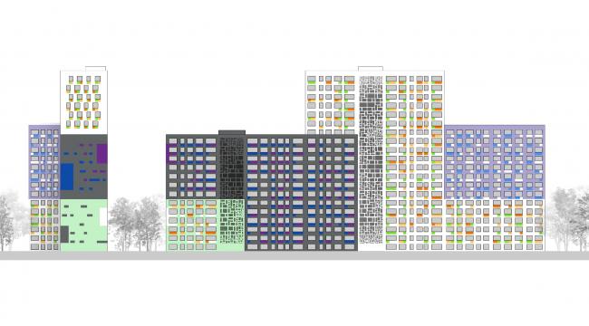 Цветовое решение фасадов. Жилой комплекс на Васильевском острове © «А.Лен»
