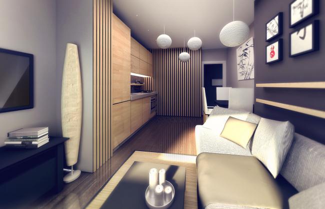 Вариант отделки двухкомнатной квартиры. Жилой комплекс на Васильевском острове © «А.Лен»