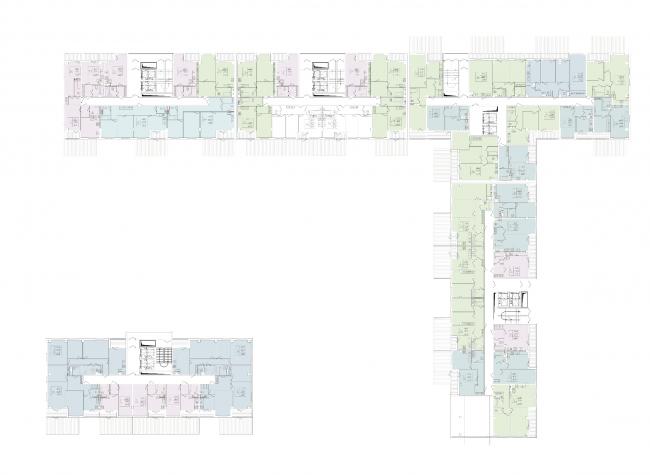 Планы 1 этажа корпусов 3 и 5. Жилой комплекс на Васильевском острове © «А.Лен»