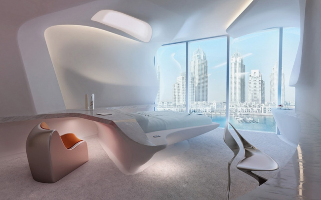 Комплекс Opus. Интерьер отеля ME Dubai © Zaha Hadid Architects