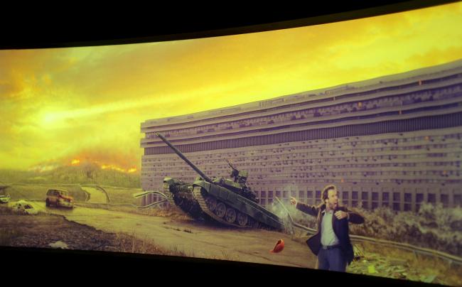 Стенд «Ковчег-строй» – дом на Тульской в экстремальной ситуации. Фотография Юлии Тарабариной