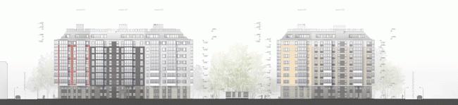 """Жилой комплекс «Skandi Klubb», 1 очередь. Развертка © А.Лен совместно с """"Semren & Mansson"""""""