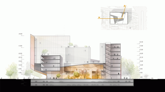 Продольный разрез. Конкурсный проект административного комплекса на улице Варшавская © «А.Лен»