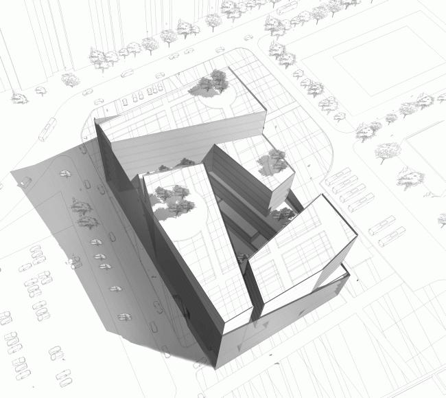 Конкурсный проект административного комплекса на улице Варшавская © «А.Лен»