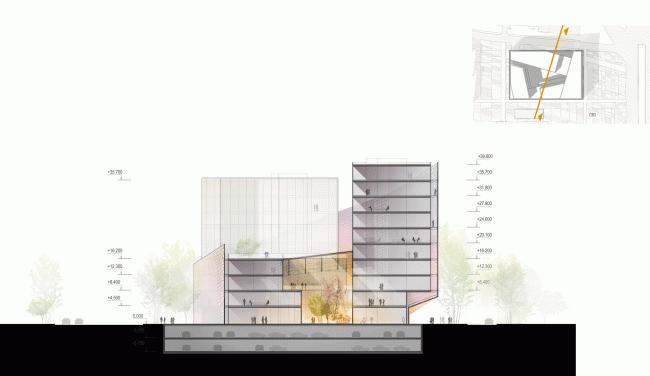 Поперечный разрез. Конкурсный проект административного комплекса на улице Варшавская © «А.Лен»
