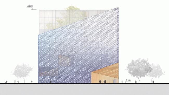 Фасад. Конкурсный проект административного комплекса на улице Варшавская © «А.Лен»