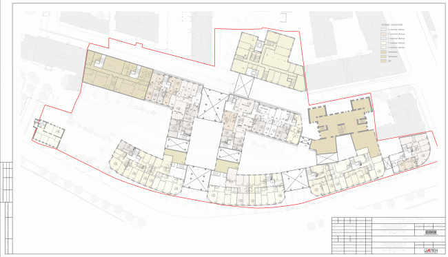 План 2 этажа. Жилой комплекс на Карповке «Северная корона» © «А.Лен» & «Архитектурная мастерская Ясса»