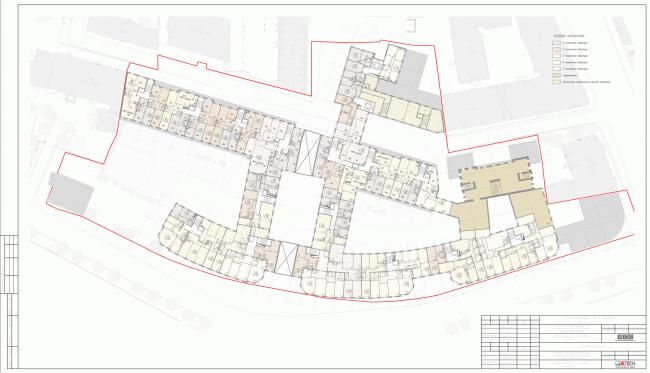 План 4 этажа. Жилой комплекс на Карповке «Северная корона» © «А.Лен» & «Архитектурная мастерская Ясса»