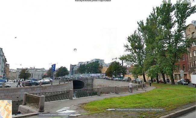 Набережная реки Карповки, существующее положение. Изображение: карты Yandex