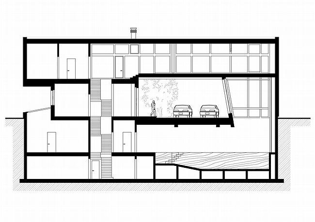 Индивидуальный жилой дом, Антоновка. Разрез 1-1 © PANACOM