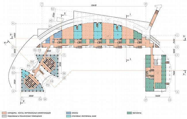 Административно-торговый комплекс на ул. Кульнева. Первоначальный вариает проекта. План
