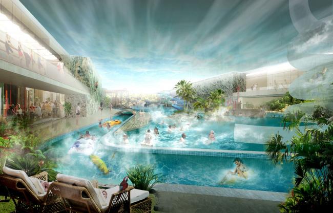 "Concept of reconstructing the swimming complex of ""Luzhniki"" © Asadov Architectural Bureau"