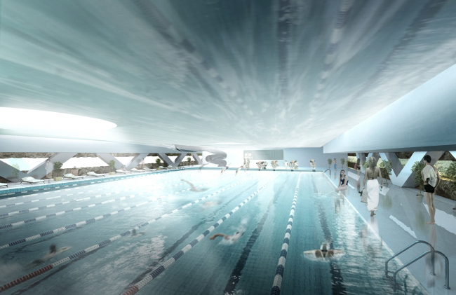 "Concept of reconstructing the swimming complex of ""Luzhniki"" © Asadov Architectural Bureau"