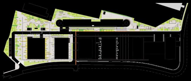 Концепция благоустройства многофункционального офисно-делового центра «Савеловский Сити». План благоустройства. Первая очередь. Проект, 2014 © Т+Т Architects