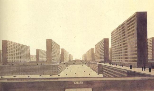 Людвиг Хильберзаймер, Вертикальный город. 1924. Урбанизация соединяет перемещения по городу, жилье и работу, накладывая их друг на друга. Архитектуру заменяет бесконечное повторение одинаковых городских систем