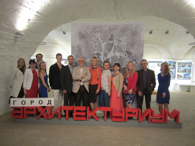 "The team of the studio at the exhibition ""Architecturium City"" © ""Architecturium""/ Yuri Pankratov"