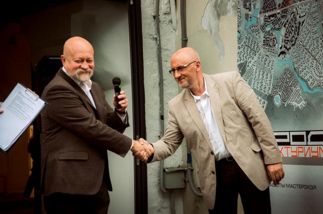 "Nikolai Shumakov and Vladimir Bindeman at the inauguration of ""Architecturium City"" Exhibition © ""Architecturium""/ Yuri Pankratov"