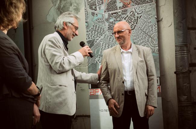 "Alexander Asadov and Vladimir Bindeman at the inauguration of ""Architecturium City"" Exhibition © ""Architecturium""/ Yuri Pankratov"