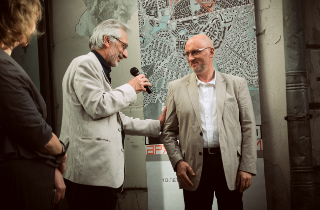"Alexander Asadov and Vladimir Bindeman at the inauguration of ""Architecturium City"" Exhibition © ""Architecturium""/ Yuri Pankratov"