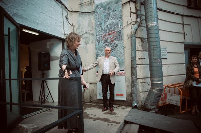 "Irene Korobyina and Vladimir Bindeman at the inauguration of ""Architecturium City"" Exhibition © ""Architecturium""/ Yuri Pankratov"