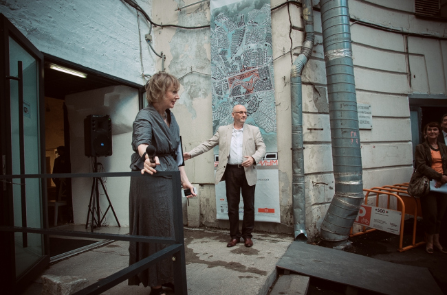 "Irene Korobyina and Vladimir Bindeman at the inauguration of ""Architecturium City"" Exhibition © ""Architecturium""/ Yuri Pankratov"
