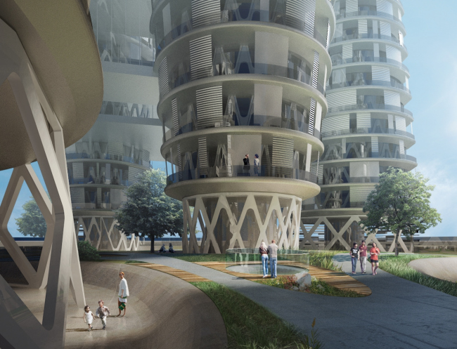 Project of the skyscraper upon the Arcology concept for Hong-Kong. 2014 © TOTEMENT / PAPER