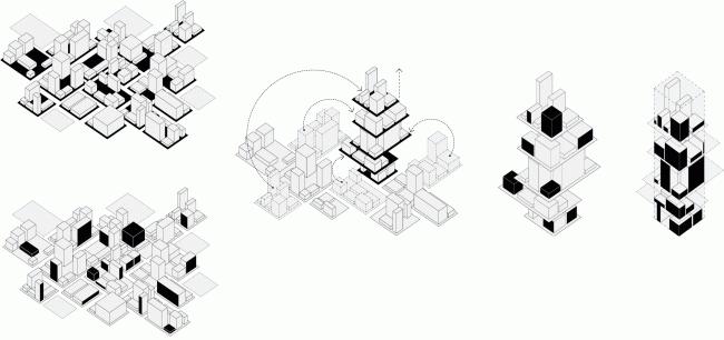 Последовательность формирования «вертикального квартала» в проекте © TOTEMENT / PAPER