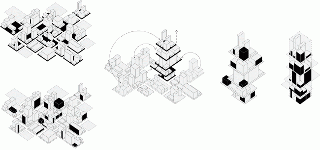 """The sucession of forming the """"vertical block"""" in the project © TOTEMENT / PAPER"""