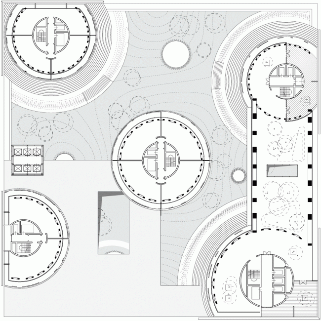 Plan: apartments and park © TOTEMENT / PAPER