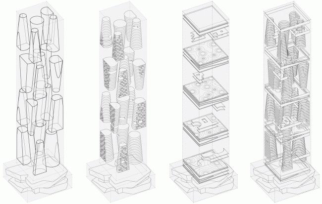 Структура: уровни, плато, остекление © TOTEMENT / PAPER