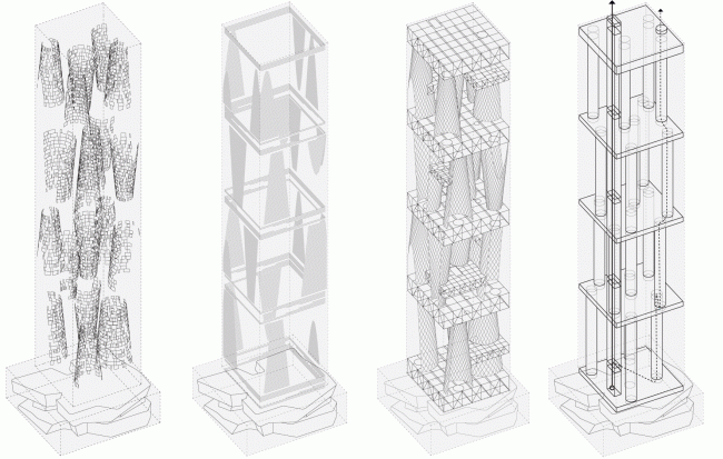Structure: screens, lamellae, building structural system, vertical communication © TOTEMENT / PAPER