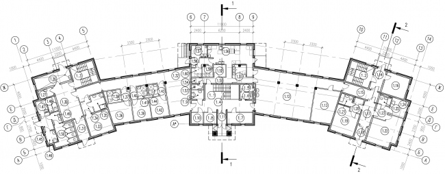 Plan of the first floor of the parish house © Eugene Gerasimov and Partners